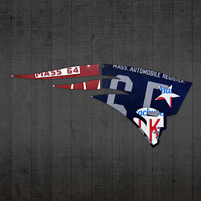 New England Patriots Football Team Retro Logo Massachusetts License Plate Art Art Print by Design Turnpike