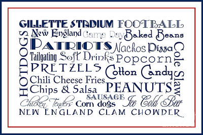 New England Patriots Game Day Food 3 Art Print by Andee Design