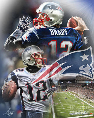 Tom Brady Painting - New England Patriots by Mike Oulton