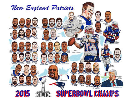 Champions Drawing - New England Patriots Superbowl Champions by Dave Olsen