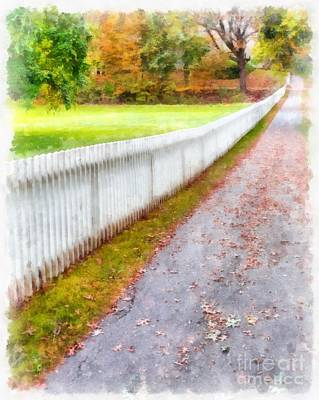 New England Fall Foliage Photograph - New England Picket Fence by Edward Fielding