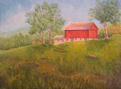 Hamptons Painting - New England Red Barn At Sunrise by Pamela Allegretto