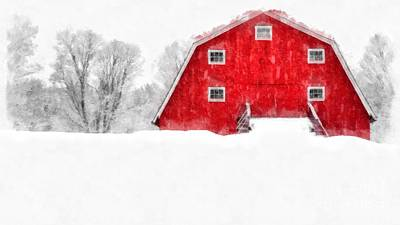 New England Red Barn In Winter Snow Storm Watercolor Art Print by Edward Fielding