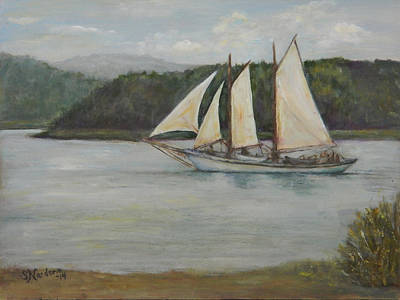Print featuring the painting New England Schooner by Sandra Nardone
