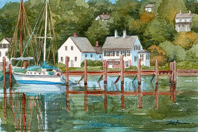Painting - New England Seascape Harbor by Janet  Zeh