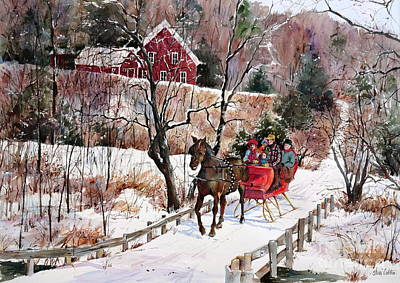 New England Snow Scene Painting - New England Sleighride by Sherri Crabtree