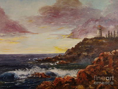 New England Lighthouse Painting - New England Storm by Lee Piper