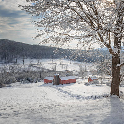 Photograph - New England Winter Farms Morning Square by Bill Wakeley