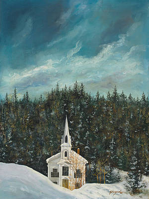 Spiritual Presence Painting - New England Winter by Michael Shegrud