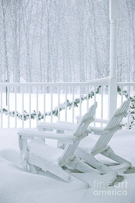 Connecticut Winter Photograph - New England Winter Porch by Diane Diederich