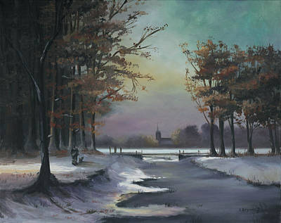 Winter Scenes Painting - New England Winter Walk by Cecilia Brendel