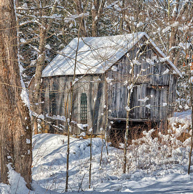 Red Barn In Winter Photograph - New England Winter Woods Square by Bill Wakeley