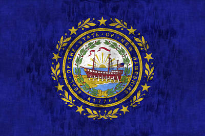 New Hampshire Flag Art Print by World Art Prints And Designs