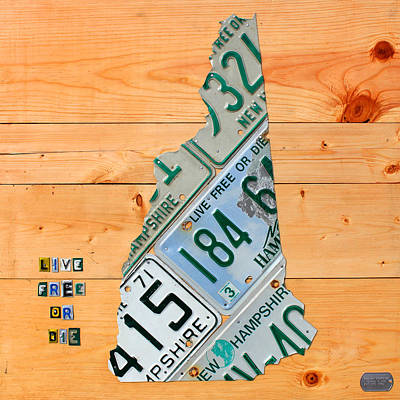 Old Mixed Media - New Hampshire License Plate Map Live Free Or Die Old Man Of The Mountain by Design Turnpike