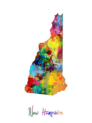New Hampshire Digital Art - New Hampshire Map by Michael Tompsett