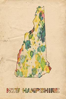 New Hampshire Map Vintage Watercolor Art Print by Florian Rodarte