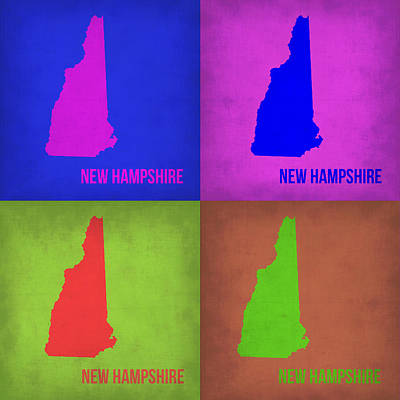New Hampshire Painting - New Hampshire Pop Art Map 1 by Naxart Studio