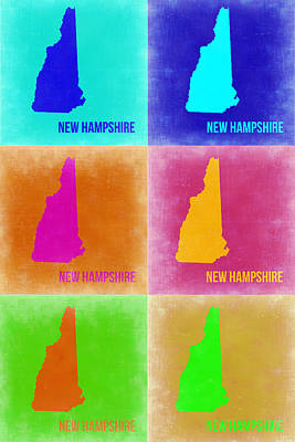 Pop Art Painting - New Hampshire Pop Art Map 2 by Naxart Studio