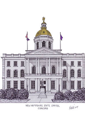 Drawing - New Hampshire State Capitol by Frederic Kohli