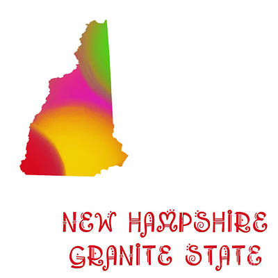 Andee Design Red Digital Art - New Hampshire State Map Collection 2 by Andee Design