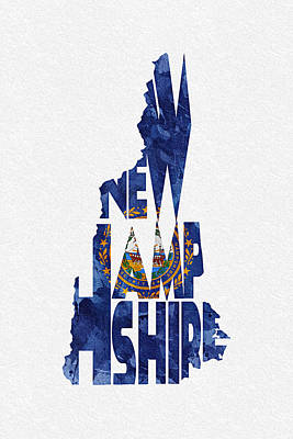 Mixed Media - New Hampshire Typographic Map Flag by Ayse Deniz