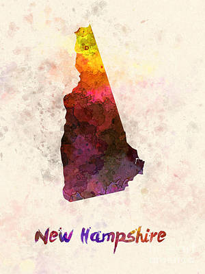 Cartography Painting - New Hampshire Us State In Watercolor by Pablo Romero