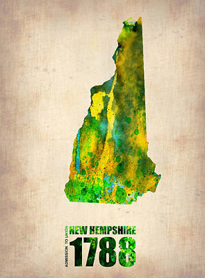 City Map Painting - New Hampshire Watercolor Map by Naxart Studio