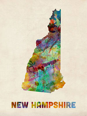 New Hampshire Watercolor Map Art Print by Michael Tompsett
