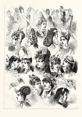 New Head-dresses Suggestions For The Coming Season Art Print by English School