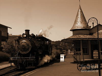 Photograph - New Hope Train Station - Sepia by Jacqueline M Lewis