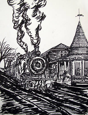 Drawing - New Hope Train Station Sketch by Loretta Luglio