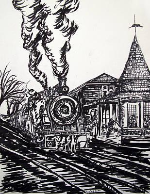 Drawing - New Hope Train Station Sketch by Loretta Luglio