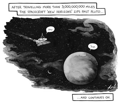 Space Ships Drawing - New Horizons Zips Past Pluto And Continues by Tom Toro