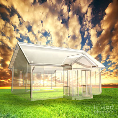 Ecology Photograph - New House Vision Project On Field At Sunset by Michal Bednarek