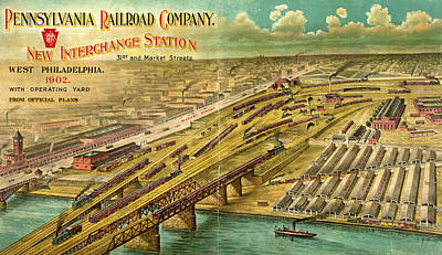Philadelphia Street Drawing - New Interchange Station, 31st And Market Streets, West by Litz Collection