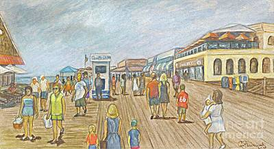 Shopping Center Painting - New Jersey 2009 Jenkinson Beach Boardwalk by Carol Wisniewski