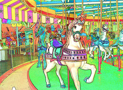 Royalty-Free and Rights-Managed Images - New Jersey Boardwalk Carousel by Barbara McDevitt