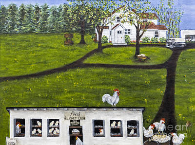 Fresh Eggs Painting - New Jersey Farm Fresh Eggs By Alison Tave by Sheldon Kralstein