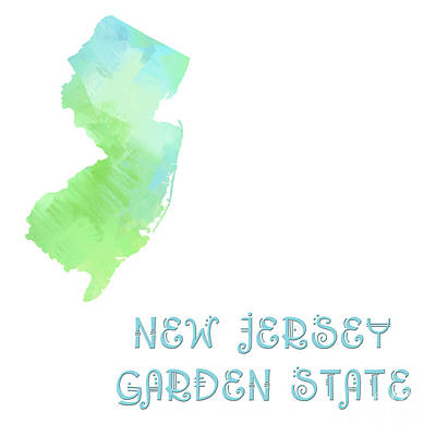 New Jersey - Garden State - Map - State Phrase - Geology Art Print by Andee Design
