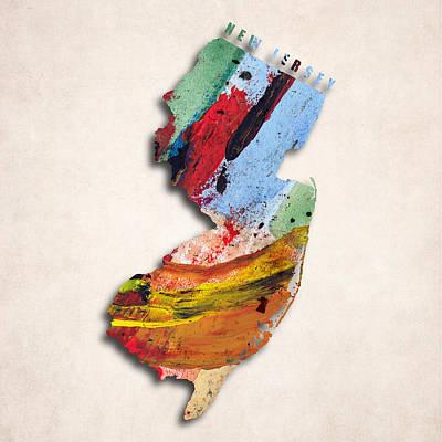 New Jersey Map Art - Painted Map Of New Jersey Art Print