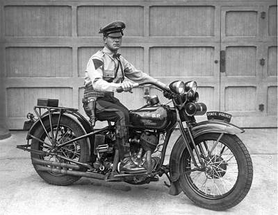 Cop Photograph - New Jersey Motorcycle Trooper by Underwood Archives