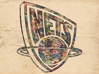 Net Painting - New Jersey Nets Retro Poster by Florian Rodarte