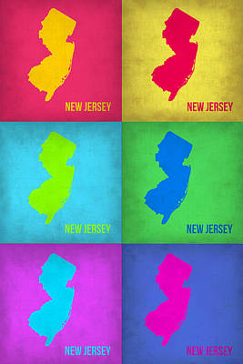 Pop Art Painting - New Jersey Pop Art Map 1 by Naxart Studio