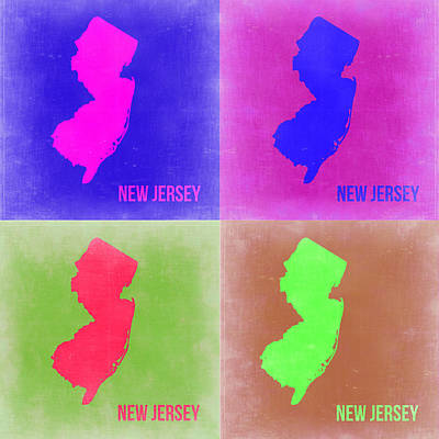 Modern Poster Painting - New Jersey Pop Art Map 2 by Naxart Studio