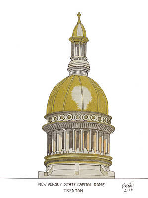 Drawing - New Jersey State Capitol by Frederic Kohli