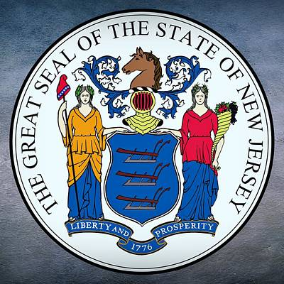 Cornucopia Digital Art - New Jersey State Seal by Movie Poster Prints