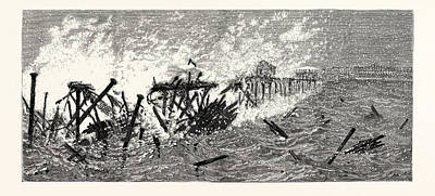 New Jersey Threatened Destruction Of The Iron Pier At Long Art Print by American School