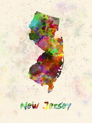Cartography Painting - New Jersey Us State In Watercolor by Pablo Romero