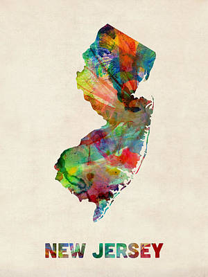 Geography Digital Art - New Jersey Watercolor Map by Michael Tompsett