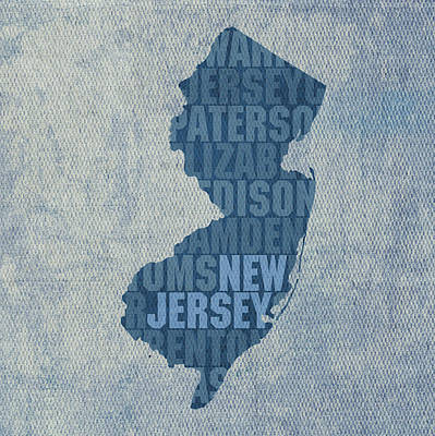Word Art Mixed Media - New Jersey Word Art State Map On Canvas by Design Turnpike